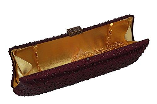 Women Purple L Clutch Purses Style Full Long Crystal For Rhinestones Yilongsheng Prom 4533 Hd1xgwAqA