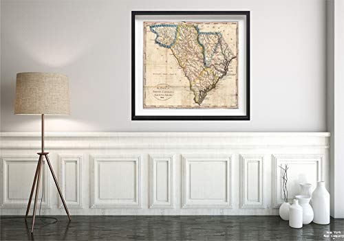 1831 Map Pocket South Carolina Historic Antique Vintage Reprint Size: 22x24 Ready to Frame