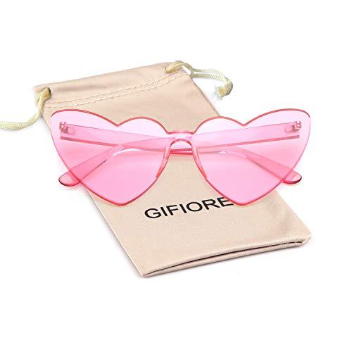 Heart Shape Rimless Sunglasses Transparent One Piece Colorful Sunglasses (Pink(Heart Cateye), 64)