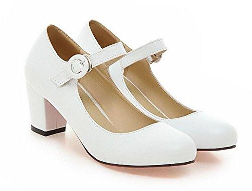 di tacco XIE 40 donna aiutare col alto di i punta pattini white dimensioni grandi Fibbia 40 per tonda scarpe WHITE basso primavera svago aBwFa