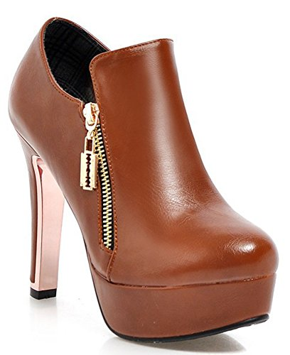 High Side IDIFU Platform Women's Heel Boots Fashion Booties Short Yellow Chunky Zipper qrErR0n