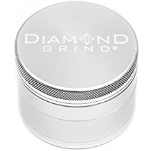 """Diamond Grind 4 Piece Aluminum Herb Grinder with screen 50mm (2.00"""") SILVER"""