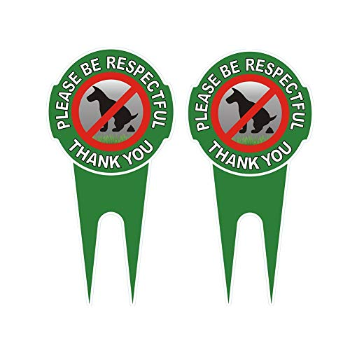 "HEIOKEY 2 Pack No Poop Dog Sign with Stake 12"" x 6"",Double Sided No Pooping Dog Sign Politely Reads:Please Be Respectful Thank You - Stop Dogs from Pooping or Peeing On Your Lawn Yard Sign"