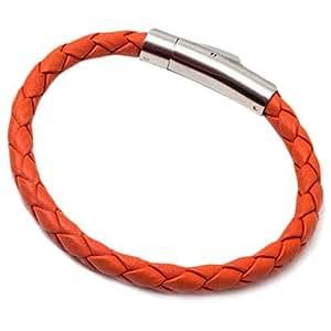 Momentum Men's Leather Classic Funky Orange Medium Braided Bracelet