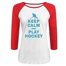 Women's Keep Calm And Play Hockey 3/4 Sleeve O Neck Raglan Baseball T Shirt Red