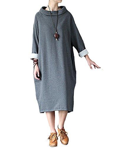 Aeneontrue Women's Long Sleeve Turtleneck Sweatshirt Dress with Side Pockets Gray L