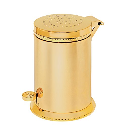 Luxo Toilet Waste Basket, Polished Gold with Swarovski Crystal, Trash Can, Waste Bin, Bathroom Accessories, Made in Spain (European Brand) (Polished Gold) by Hispania bath
