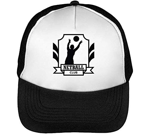 Hombre Negro Club Badge Blanco Netball Beisbol Snapback Sport Gorras 0pIUq