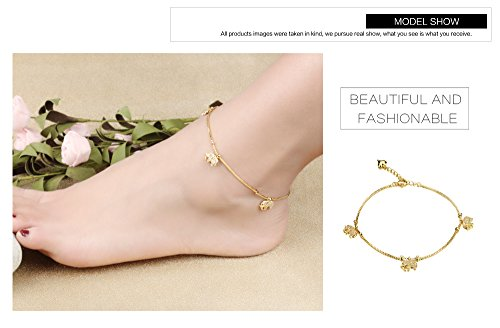 Fashion Aanklets 18K Gold Tone Rhinestone Elephant Beach Foot Chain Aanklet for Women L8.19+1.5'' by LOHOME (Image #6)