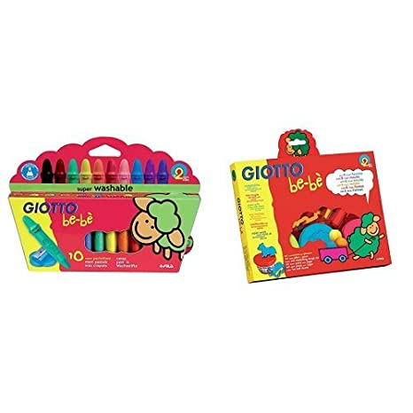 GIOTTO be-bè 462900 - Set súper pasta para jugar, con 6 moldes con formas de animales, 2 accesorios para modelar y 3 botes de paste de 100 g, colores ...