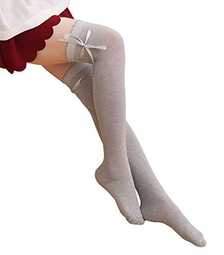 Womens Girls Thigh High Striped Cotton Socks Over Knee