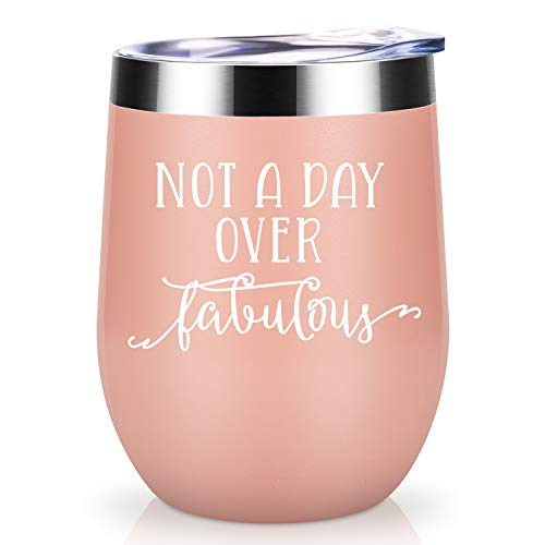 (Not a Day Over Fabulous | Coolife 12oz Stainless Steel Novelty Wine Tumbler Insulated Funny Sippy Cup with Lid and Straw | Perfect Birthday, Wedding, Christmas, Mother's Day Gifts for Women)