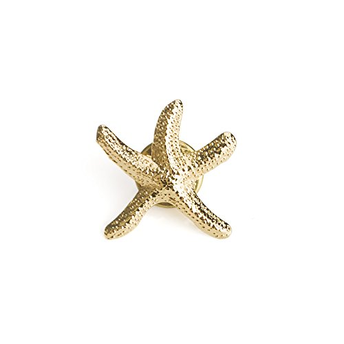 (Price/25PCS) ALICE 3D Cast Golden Starfish Lapel Pins, 3/4