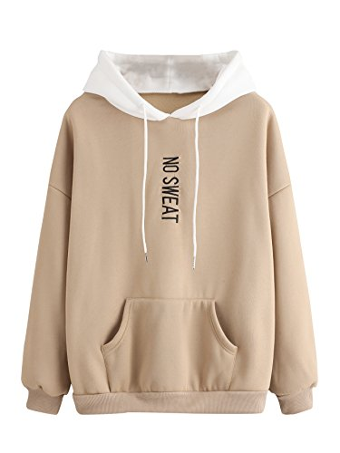 MAKEMECHIC Women's Winter Solid Color Loose Drawstring Pocket Hoodie Pullover Tops Khaki ()