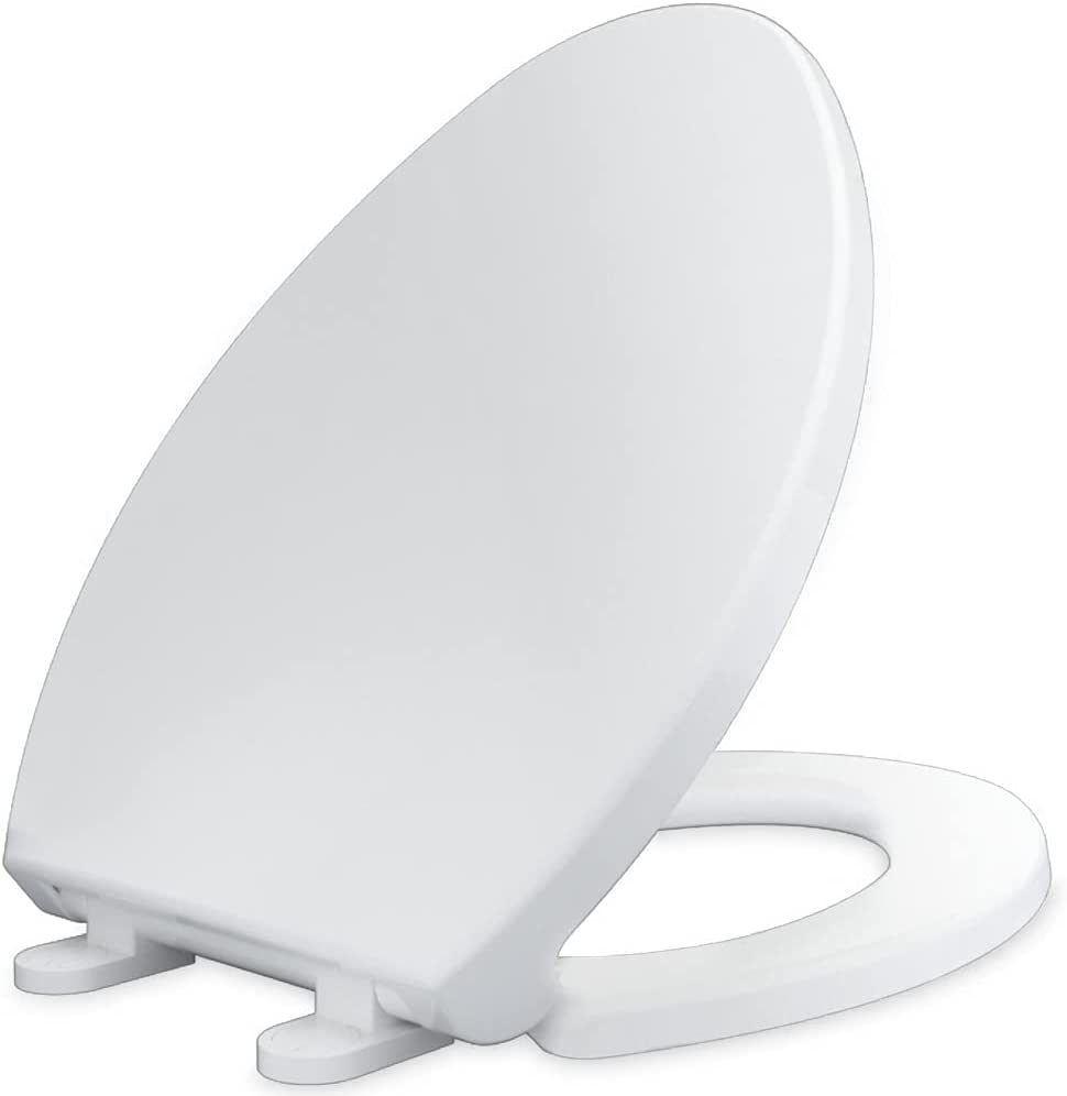CYRRET Toilet Seat Elongated with Lid, Slow Close, Easy to Install and Clean, Durable Plastic, White, Replacement Toilet Seats, Fits Standard Elongated, Obling or Oval Toilets