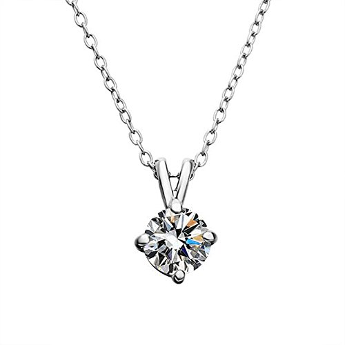 Elegant White Gold Plated Round Cut Clear Cubic Zirconia CZ Solitaire Halo Pendant Necklace For Women (Black Magic Titanium Tire)