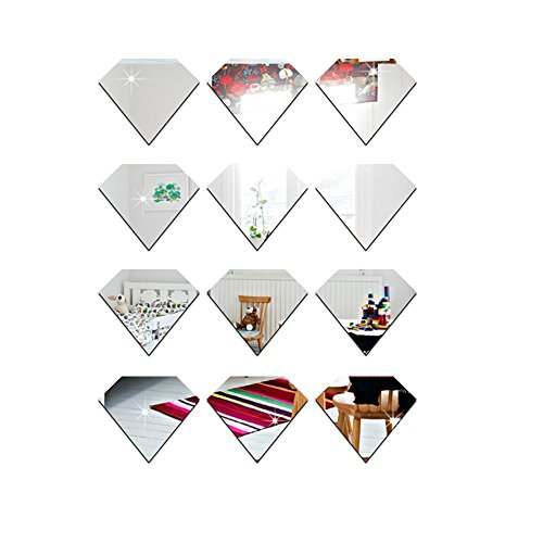 - Funlife Wall Decals Wall Stickers Good Mirror Reflective Effect Cartoon Pattern for Living Room Bed Room Kid Room (Cartoon Diamond, Silver)