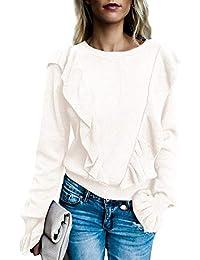 Women's Crew Rib Ruffle Front Puff Long Sleeve Blouse Sweater Crop T Shirts