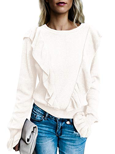 FISACE Womens Loose Cute Ruffle Front Puff Long Sleeve Knit Pullover Sweater Top (Small, White)
