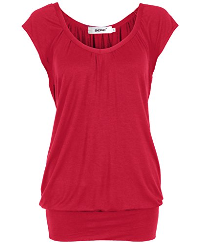 [Bepei® Women Hip Length V Neck Top Solid Short Sleeve T Shirt Tunic Blouse Red M] (Shirred Puff Sleeve Tops)