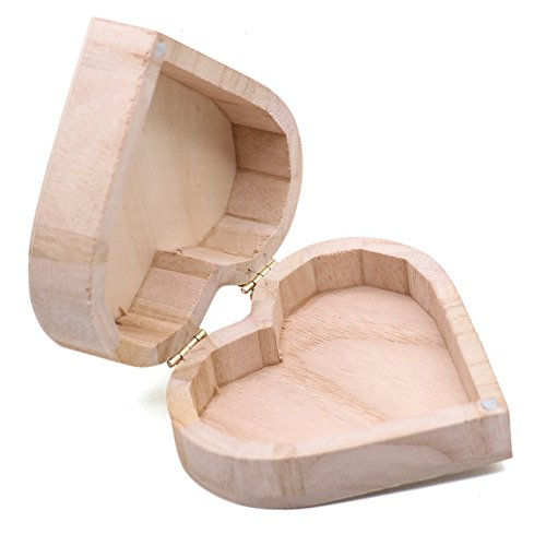 JETEHO Unfinished Heart Shape Unpainted Wooden Jewelry Box DIY Storage Box
