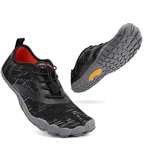 ALEADER hiitave Men Minimalist Barefoot Trail Running Shoes Wide Toe Glove Cross Trainers Hiking Shoes Black/Grey/Mixed 9 M US Men