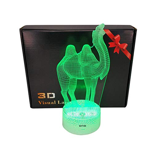 Desert Camel Toys Visual 3D Lamp White Base 2D Night Light Touch USB Cable Birthday Christmas Gift for Boys Kids Adult Acrylic Table Furniture Decorative Colorful 7 Color Change Household Accessories by KIVVEE