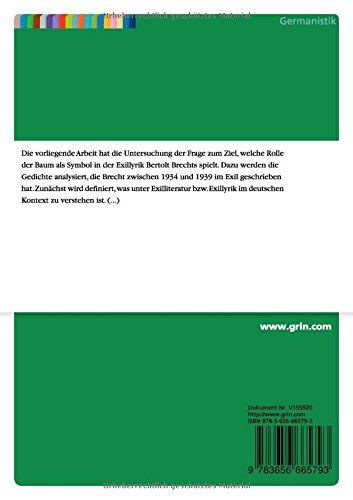 Buy Der Baum Als Symbol In Bertolt Brechts Exilgedichten