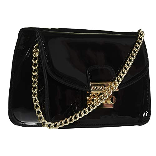 BCBGeneration Milly Small Black Patent Crossbody Handbag for Women - Evening Bag, Purse with Chain Strap by BCBG