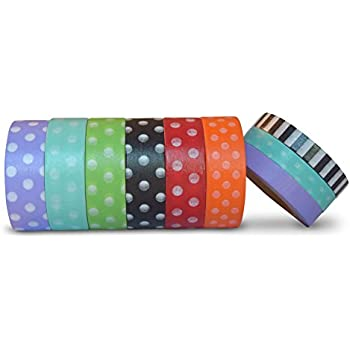 AIM HOBBIES Washi Masking Tape Set of 6 PLUS FREE BONUS SET OF 3 (Polka Dot 1)