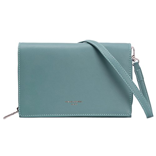 DAVIDJONES Blue Medium Elegant Evening Leather Pochette Clutch Cell Phone Purse for Women