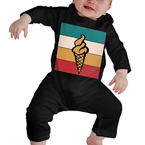 Ice Cream Retro Newborn Baby Long Sleeve Romper Jumpsuit Organic Coverall