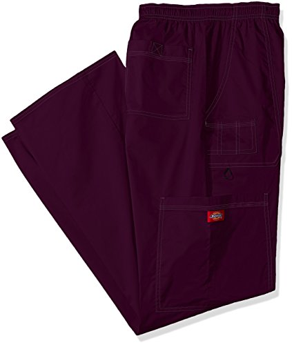 Dickies Men's Big and Tall Genflex Contrast Drawstring Cargo Scrub Pant, Eggplant, 5X-Large