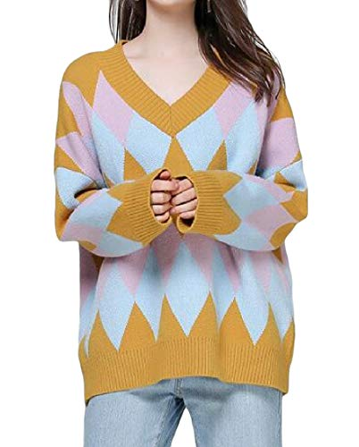 (Macondoo Women Knitted Pullover Blouse Long Sleeve V-Neck Argyle Sweaters Yellow One-Size)