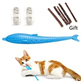 Cat Fish Shape Toothbrush with Catnip, Silicone Molar Stick Catnip Toys, Chew Bite Teeth Cleaning Toy for Cats Kitten Kitty (Blue)