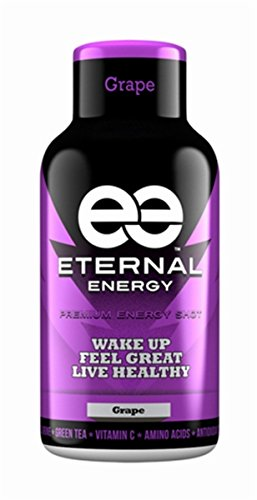 Eternal Energy shot GRAPE flavor 2oz - 12 Pack - Vitamin B, Vitamin C, Amino Acids, Antioxidants, Caffeine, Quercetin, Taurine, Green Tee