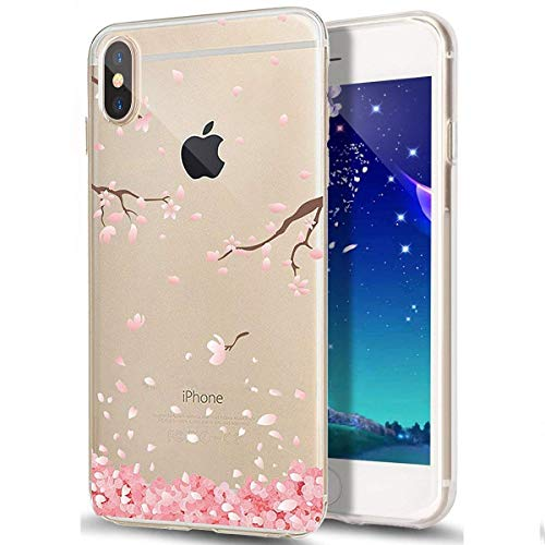 Price comparison product image ikasus Case for iPhone Xs Max, Clear Cherry Blossom Floral Flower Design Soft & Flexible TPU Silicone Ultra-Thin Slim Fit Shockproof Transparent Girls Women TPU Case Cover for iPhone Xs Max TPU Case,  9