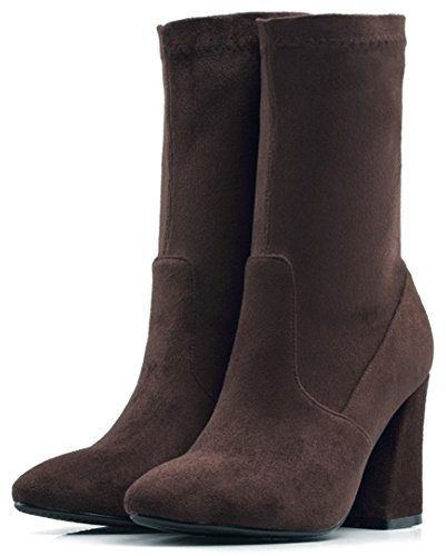 Boots Calf Skinny Pull Mid Heel High Mofri Toe Suede Chic Pointed Women's Chunky On Coffee Faux WwgCn1CFq