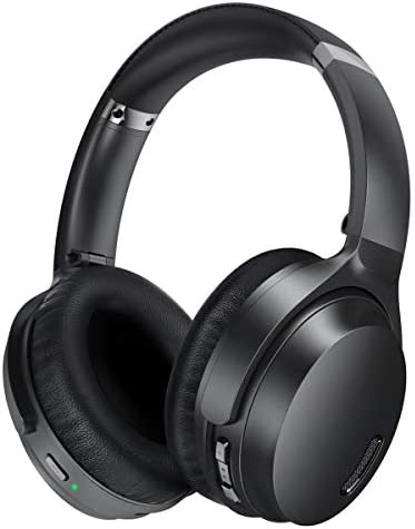 Active Noise Cancelling Headphones HROEENOI JZ02 Wireless Bluetooth Headphones Over Ear Headset with CVC 8.0 Mic HiFi Stereo Sound, Deep Bass, 30H Playtime, Soft Earpads for Travel Home Class Black