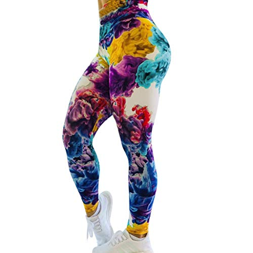 MTENG Women's Print Workout High Waist Yoga Pants Tummy Control Workout Running Yoga Athletic Pants(B,M)