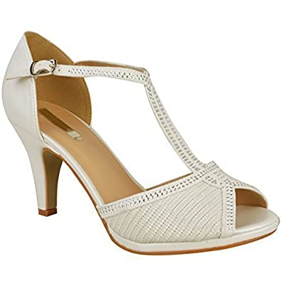 395111759 Womens Ladies Wedding Bridal Shoes Prom High Heel Diamante Party Sandals  Size
