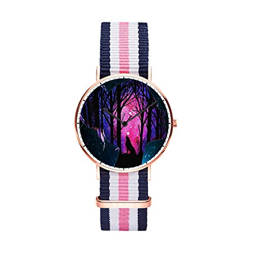 SunbirdsEast Starry Sky Woman Watch Nylon Band for Women 36mm Analog Quartz Wrist Rose Gold Unisex Stainless Steel Children Nylon Multi-Color Striped Band Watch -