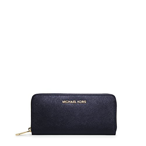 MICHAEL Michael Kors Jet Set Travel Zip Around Continental Saffiano Leather Wallet (One Size, Navy (9109) / Gold) by Michael Kors