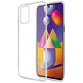 Amazon Brand – Solimo Mobile Cover for Samsung Galaxy M31s (Soft & Shockproof Back Case with inbuilt Cushioned Edges), Transparent