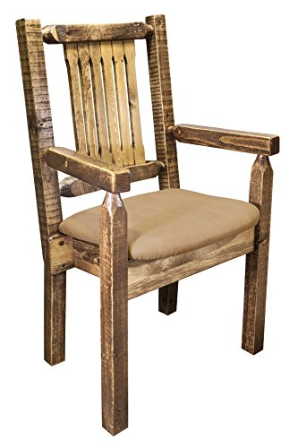 (Montana Woodworks MWHCCASCNSLBUCK Homestead Collection Captain's Chair, Stain & Clear Lacquer Finish with Upholstered Seat, Buckskin Pattern)