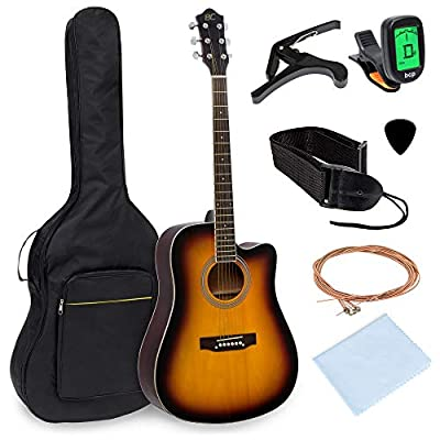 Best Choice Products 41in Full Size Beginner Acoustic Cutaway Guitar Kit Musical Instrument Bundle Set w/Padded Case, Strap, Capo, Extra Strings, Digital Tuner, Polishing Cloth, 4 Picks - Sunburst
