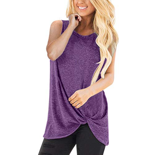 (HIRIRI Summer Soft Loose Women's Tops Twist Knotted Blouses Sleeveless Round Neck Tunic T Shirt)