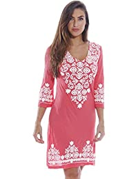 Womens 3/4 Sleeve Swimsuit Cover Up Casual Tunic Resort Wear