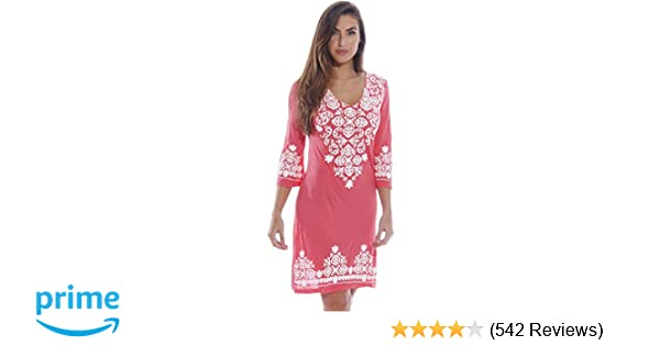 e1e0ef2f55 Just Love Womens 3/4 Sleeve Swimsuit Cover up Casual Tunic Resort Wear at  Amazon Women's Clothing store: