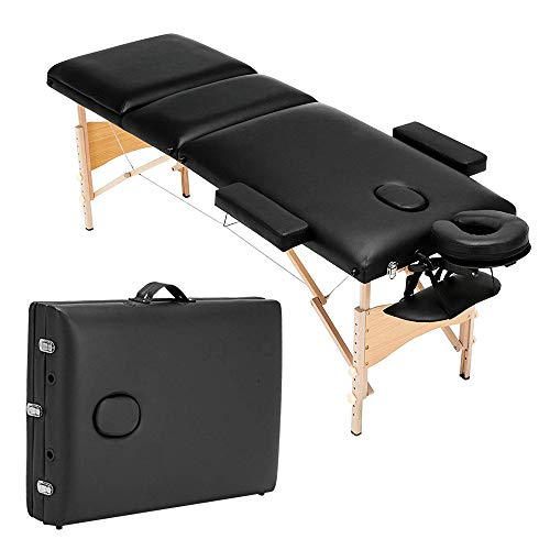 Folding Massage Table 84'' Professional Portable 3 Fold Facial Massage Bed Salon Spa Bed Adjustable PU Leather Fold with Free Carry Case Salon with Backrest Black ()